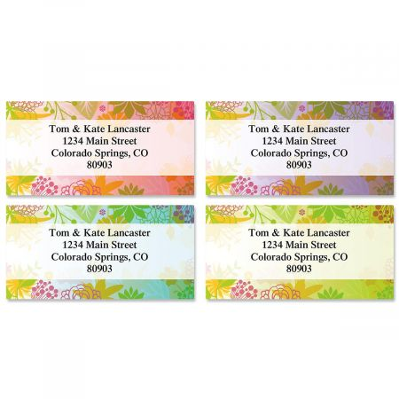 Floret Border Return Address Labels  (4 Designs)