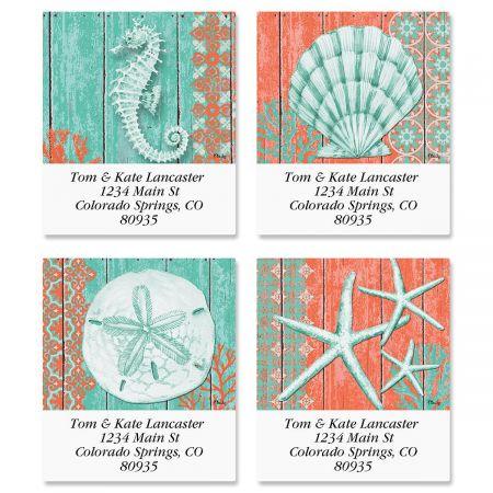 Coral Select Return Address Labels  (4 Designs)