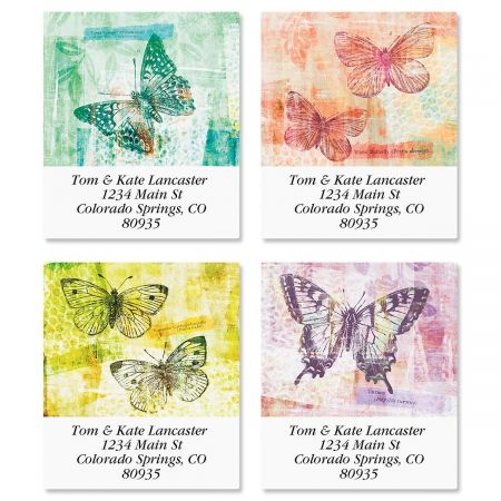 Chroma Butterflies Select Return Address Labels  (4 Designs)