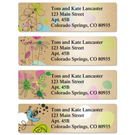 Kraft Blossoms Classic Return Address Labels  (4 Designs)