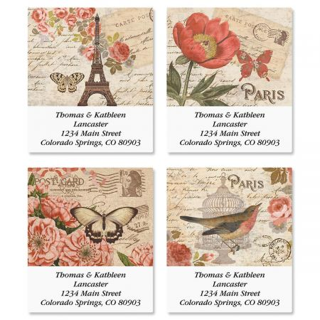 Parisian Postcard Select Return Address Labels  (4 Designs)