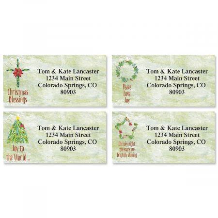Christmas Garlands Border Return Address Labels  (4 Designs)