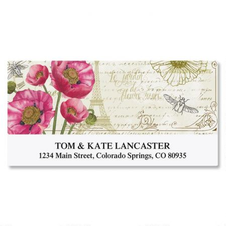 Parisian Poppies Deluxe Return Address Labels (2 Designs)