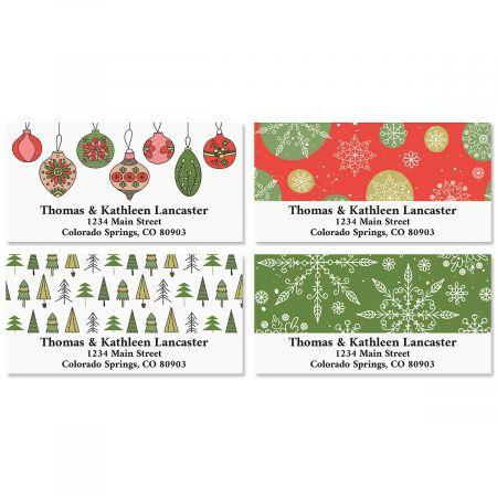 Christmas Patterns Deluxe Return Address Labels (4 Designs)
