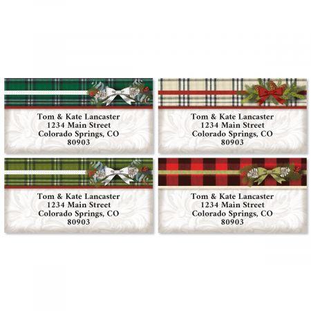 Warm Flannel Border Christmas Address Labels (4 Designs)