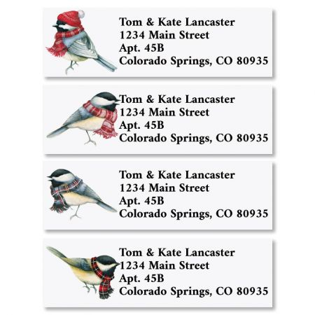 Winter Chickadees Classic Christmas Address Labels (4 Designs)