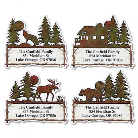 Country Lodge Diecut Return Address Labels  (4 Designs)