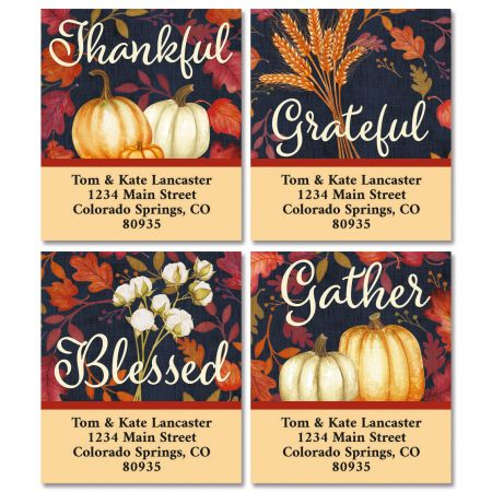 Grateful Autumn Select Return Address Labels (4 Designs)