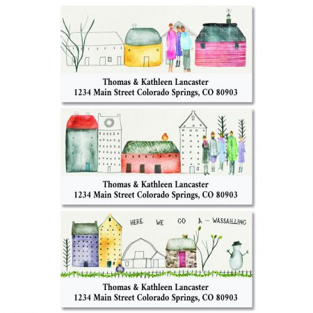 Town Scene Deluxe Christmas Address Labels (3 Designs)