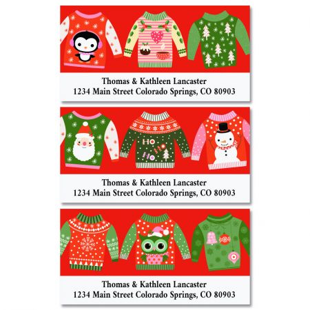 Ugly Sweaters Deluxe Christmas Address Labels (3 Designs)