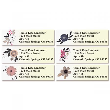 Paper Flowers Classic Return Address Labels (6 Designs)