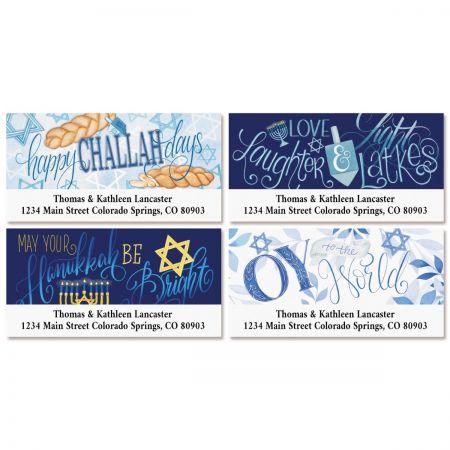 Bright Hanukkah Deluxe Address Labels (4 Designs)