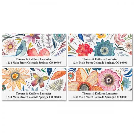 Embroidered Florals Deluxe Return Address Labels (4 Designs)