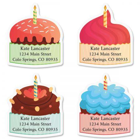 Birthday Cupcakes Diecut Return Address Labels (4 Designs)