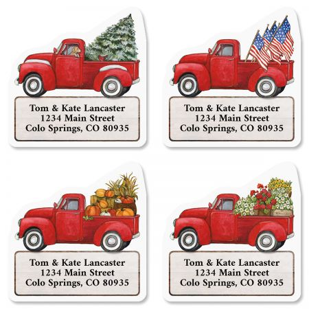 Red Trucks Diecut Return Address Labels (4 Designs)