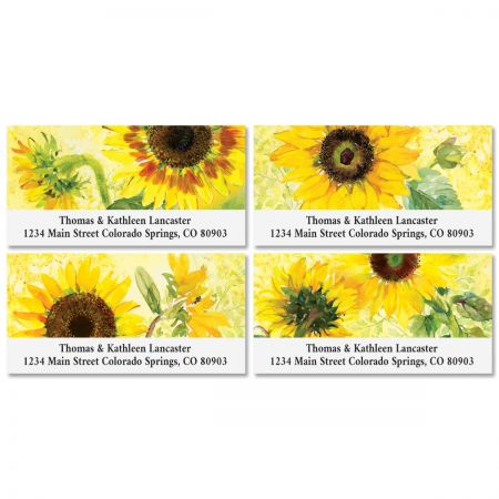 Sunny Sunflowers Deluxe Return Address Labels (4 Designs)