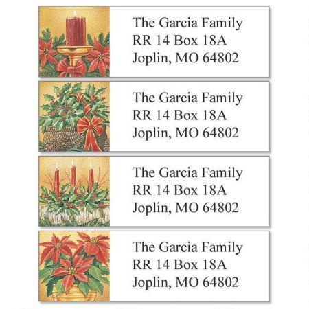 Holly & Poinsettias Classic Return Address Labels (4 Designs)