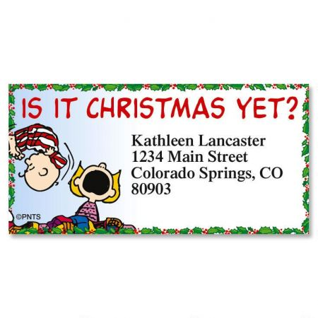 peanuts christmas capers border return address labels colorful images