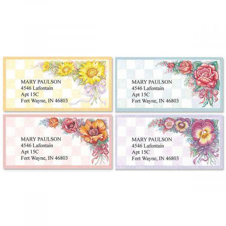 Garden Gingham  Border Return Address Labels   (4 Designs)