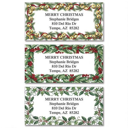 Evergreen Edges Border Return Address Labels  (3 Designs)