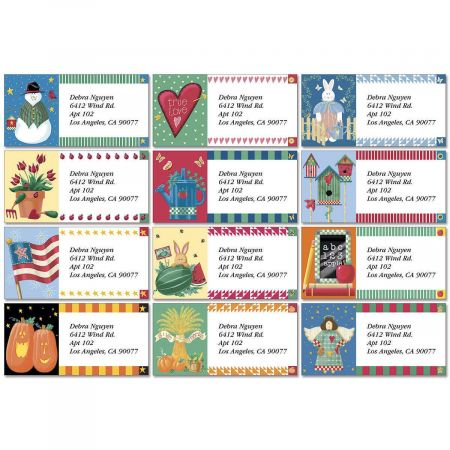 Vicky's Year-Round Border Return Address Labels  (12 Designs)