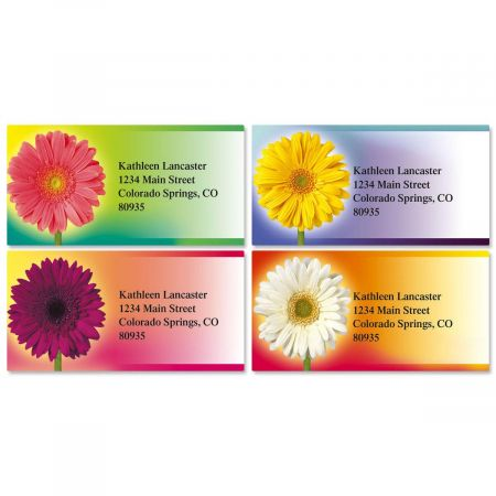 Illuminated Petals Border Return Address Labels  (4 Designs)