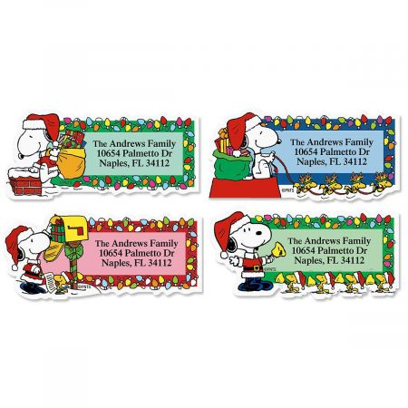snoopy santa diecut return address labels colorful images
