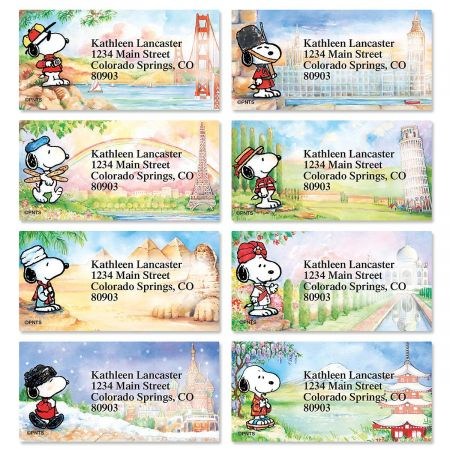 Snoopy™ Around the World Border Return Address Labels  (8 Designs)