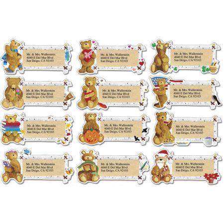 Bear Lodge Buddies Year-Round  Diecut Return Address Labels  (12 Designs)