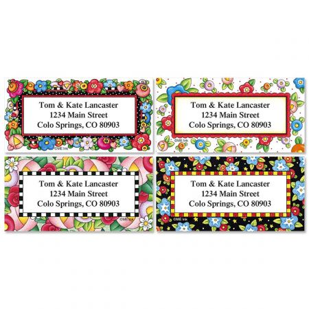 Mary's Bright Blossoms Border Return Address Labels  (4 Designs)