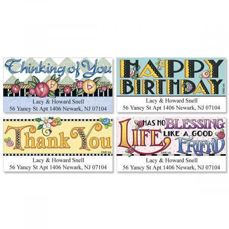 Mary's Best Wishes Deluxe Return Address Labels  (4 Designs)