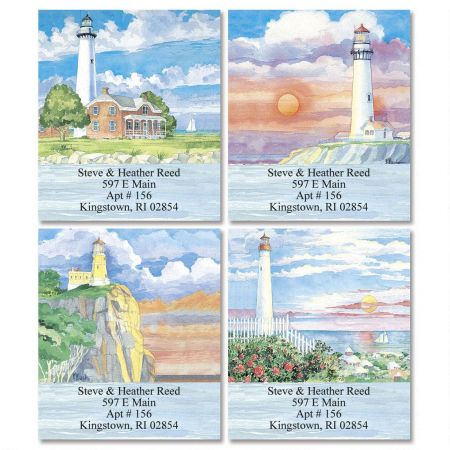 Watercolor Lighthouses Select Return Address Labels  (4 Designs)
