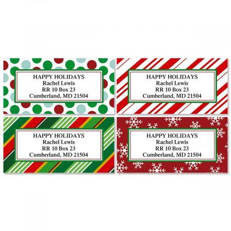 Giftwrap Greetings Christmas Border Return Address Labels   (4 Designs)