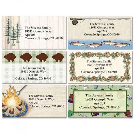Camping & Fishing Border Return Address Labels  (6 Designs)
