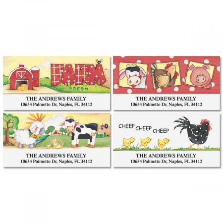On The Farm Deluxe Return Address Labels  (4 Designs)