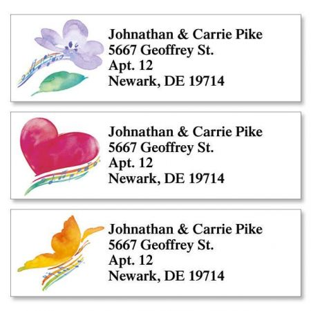 Watercolor Notes Classic Return Address Labels  (3 Designs)