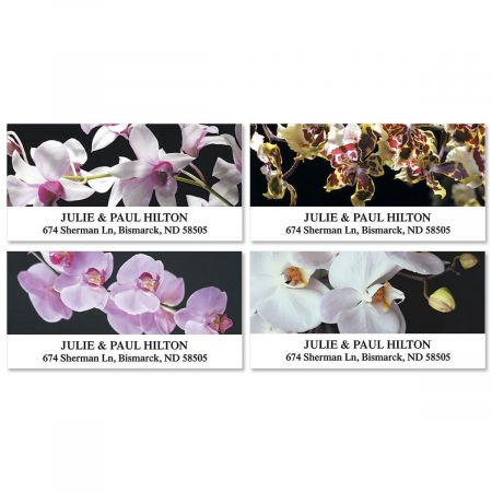 Orchids on Black Deluxe Address Labels  (4 Designs)