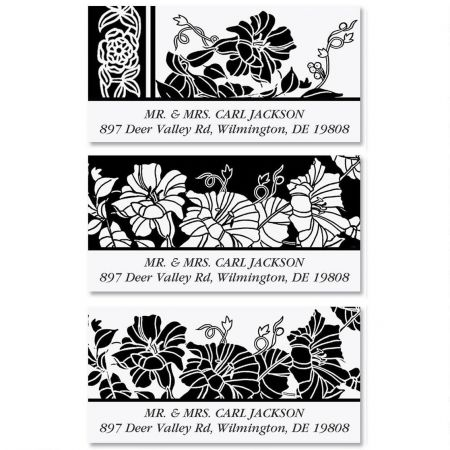 Black and White Deluxe Return Address Labels  (3 Designs)
