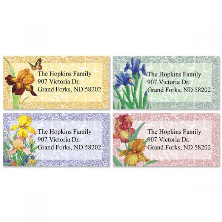 Iris Border Return Address Labels  (4 Designs)