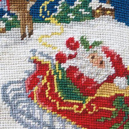 Sleigh & Reindeer Heirloom Needlepoint Custom Christmas Stocking