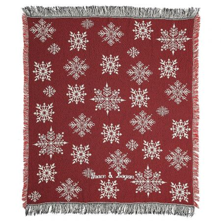 Red and White Snowflake Personalized Throw