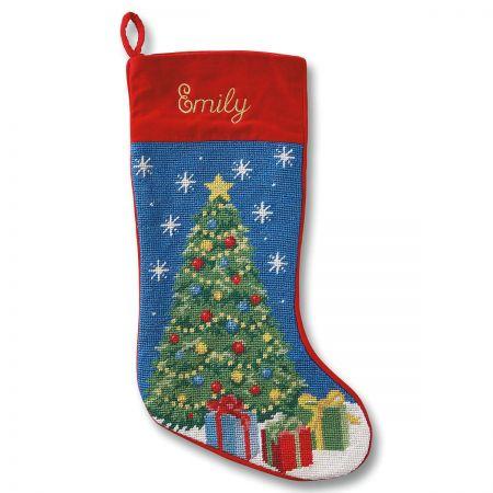 Christmas Tree Heirloom Needlepoint Custom Christmas Stocking