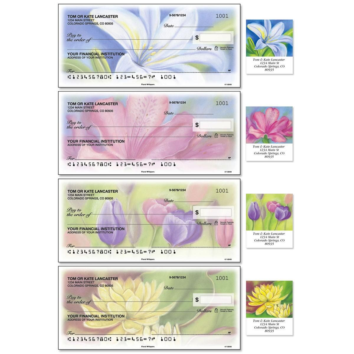 Floral Whispers Single Checks With Matching Address Labels