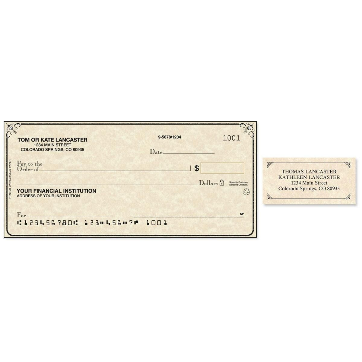 Antique Single Checks With Matching Address Labels