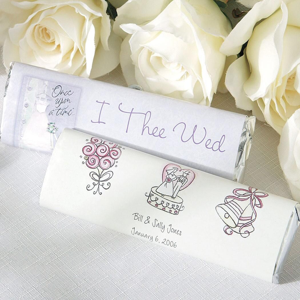 """Personalized Wedding Candy Bar Wrappers """"I Thee Wed"""""""