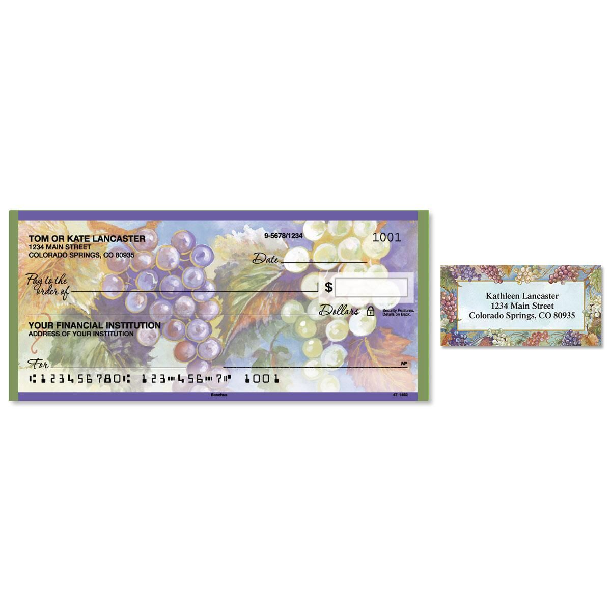 Bacchus Single Checks With Matching Address Labels