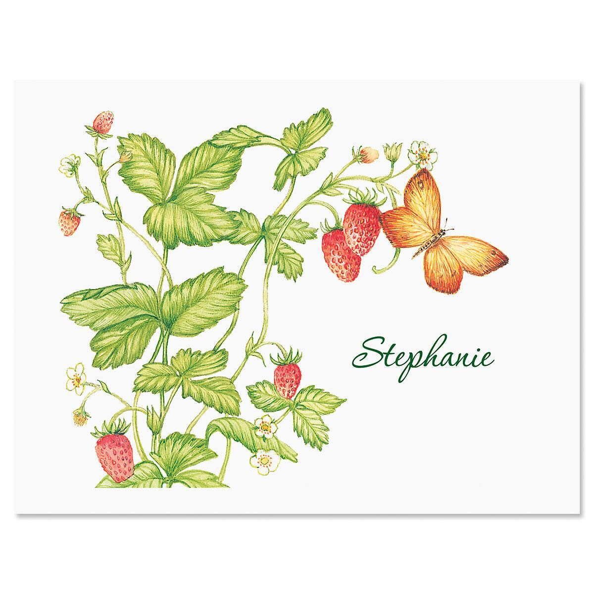 Strawberries Custom Note Cards