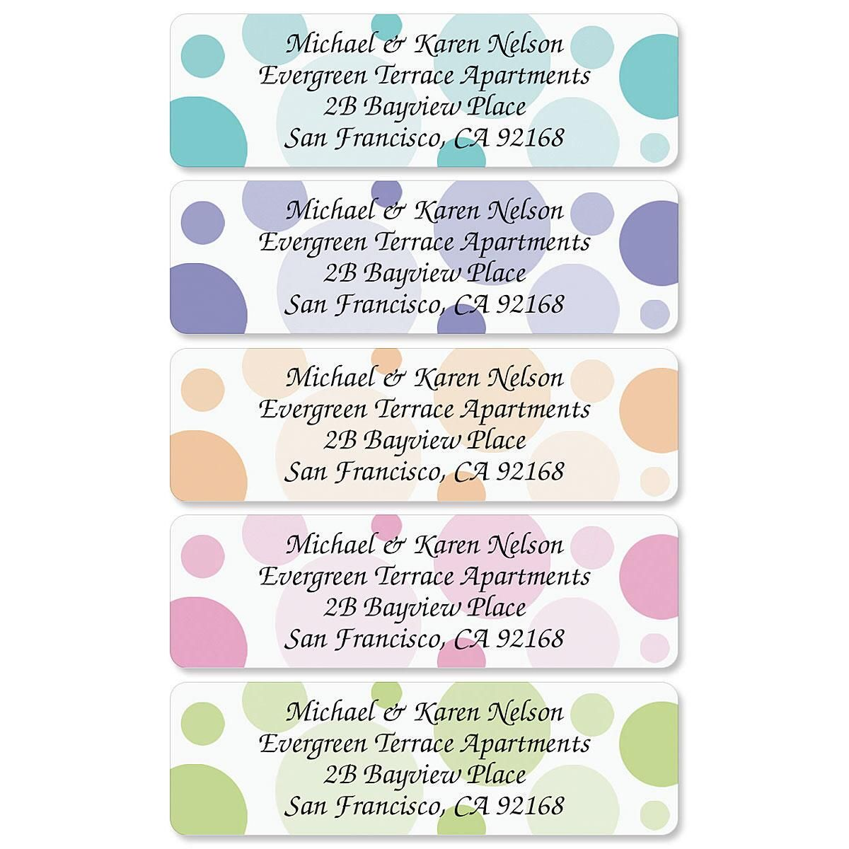 Graphic Dots Rolled Return Address Labels  (5 Designs)