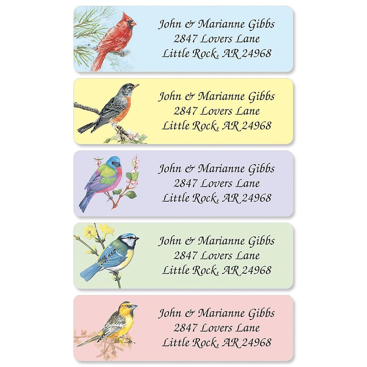 Birds Rolled Return Address Labels   (5 Designs)
