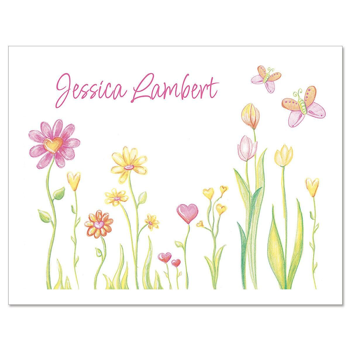 Cheery Flowers Custom Note Cards